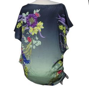 JENNIFER LOPEZ Top Blouse Floral Ruched Tie